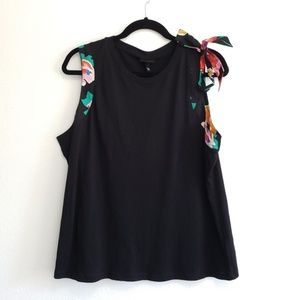 Who What Wear Black Tank with Floral Tie, NWT